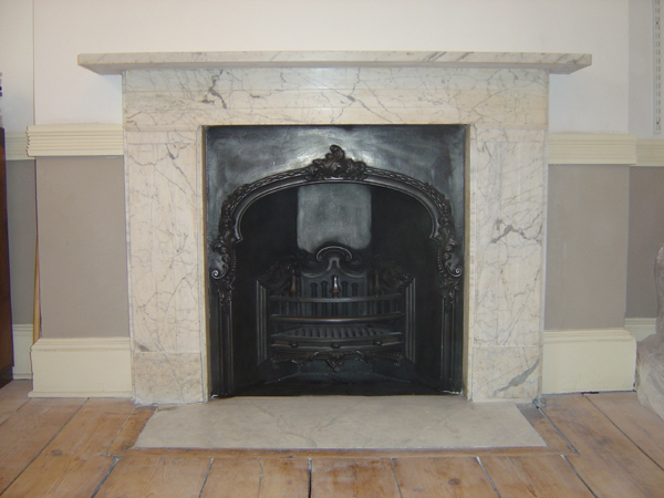 Regency Carrara Marble Surround Fireplace Restoration