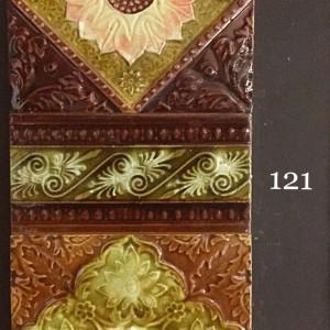 Victorian majolica lead glazed tiles
