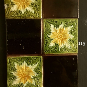 Edwardian majolica quartered floral tiles