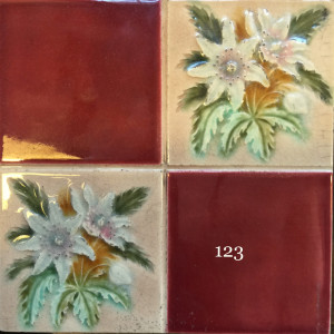 Victorian Edwardian red and cream majolica quartered tiles