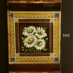 Victorian hand painted transfer tiles