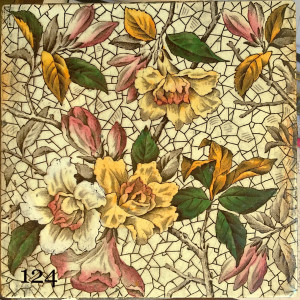 Victorian transfer print tiles hand painted