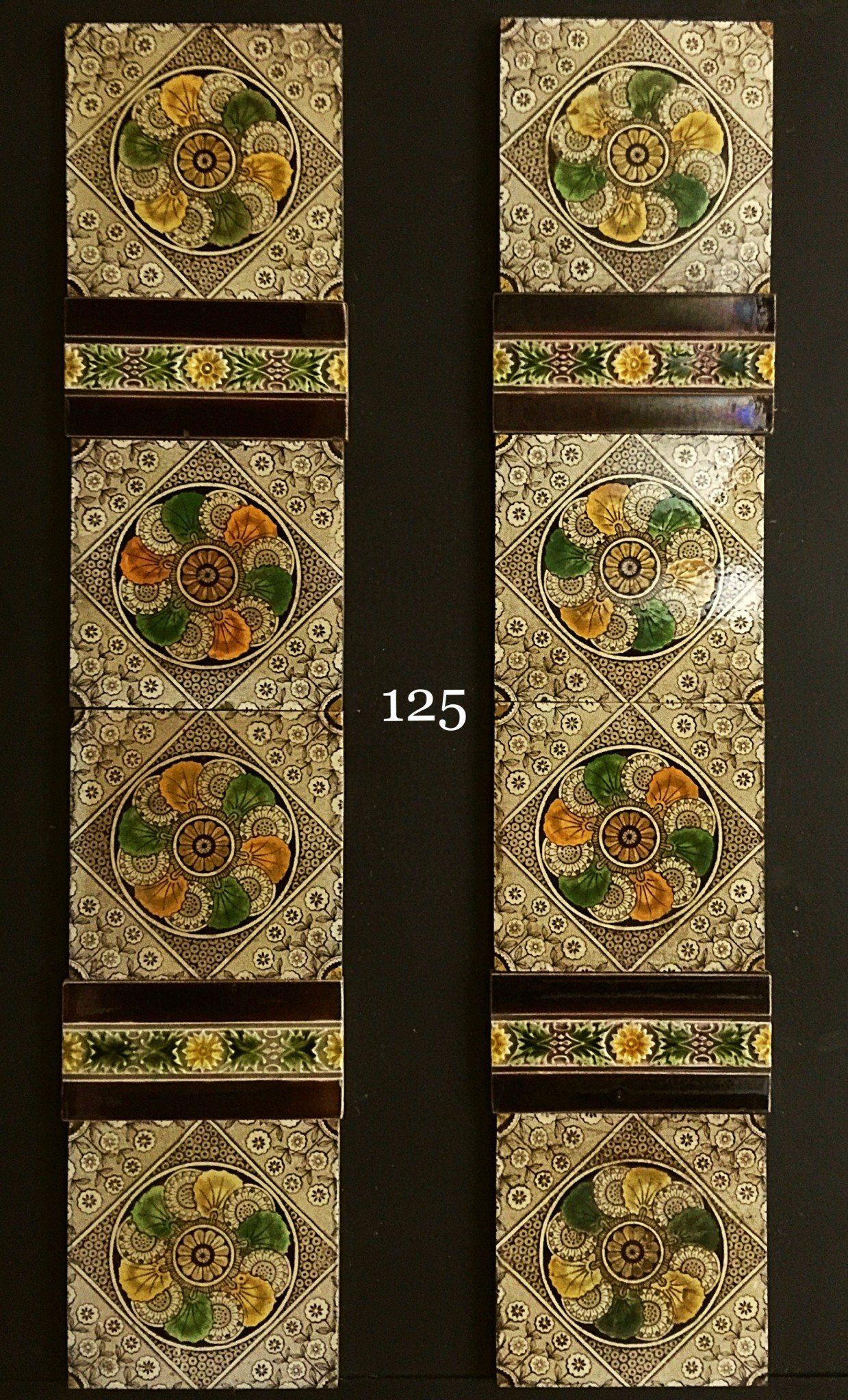 Victorian transfer printed aesthetic tiles - Fireplace ...