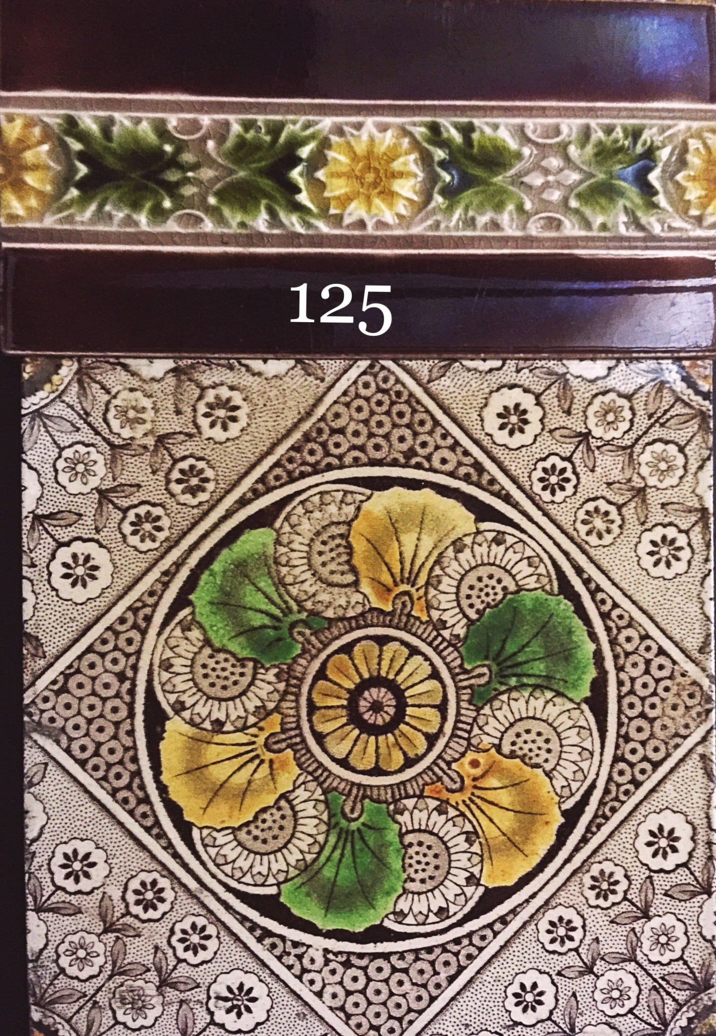 Victorian Transfer Printed Aesthetic Tiles Fireplace