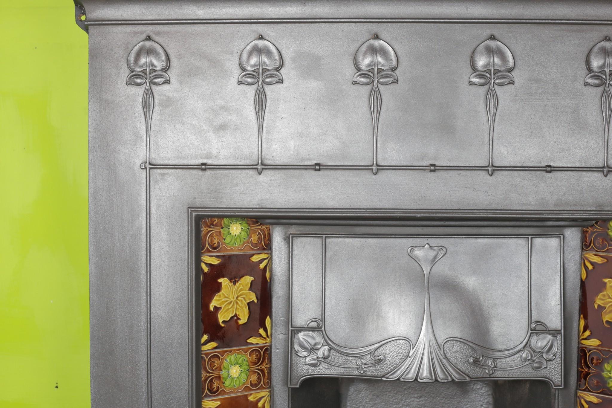 Edwardian Art Nouveau Tile Combination Fireplace Restoration