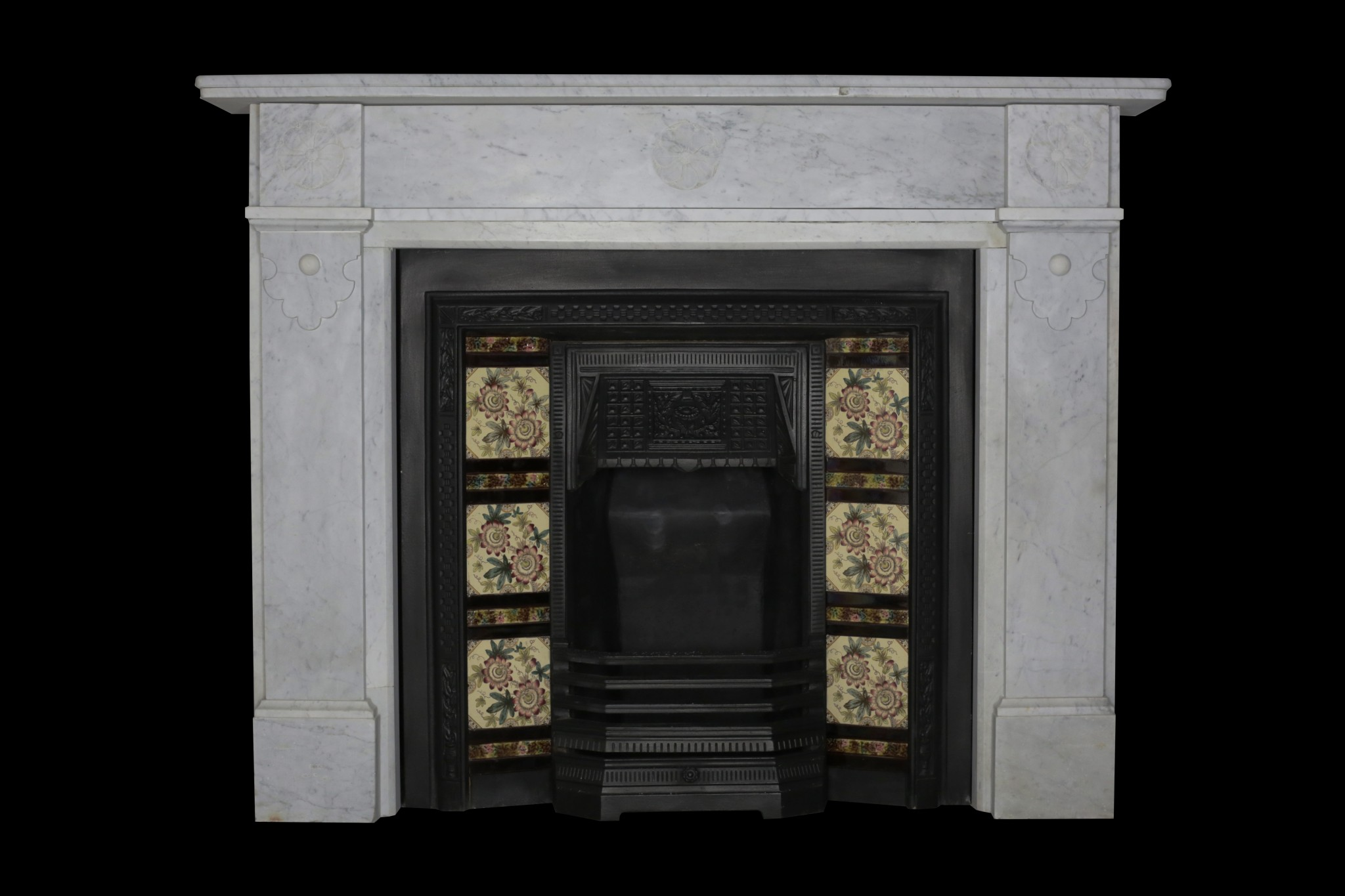 Carrara Marble Arts and Crafts style fireplace