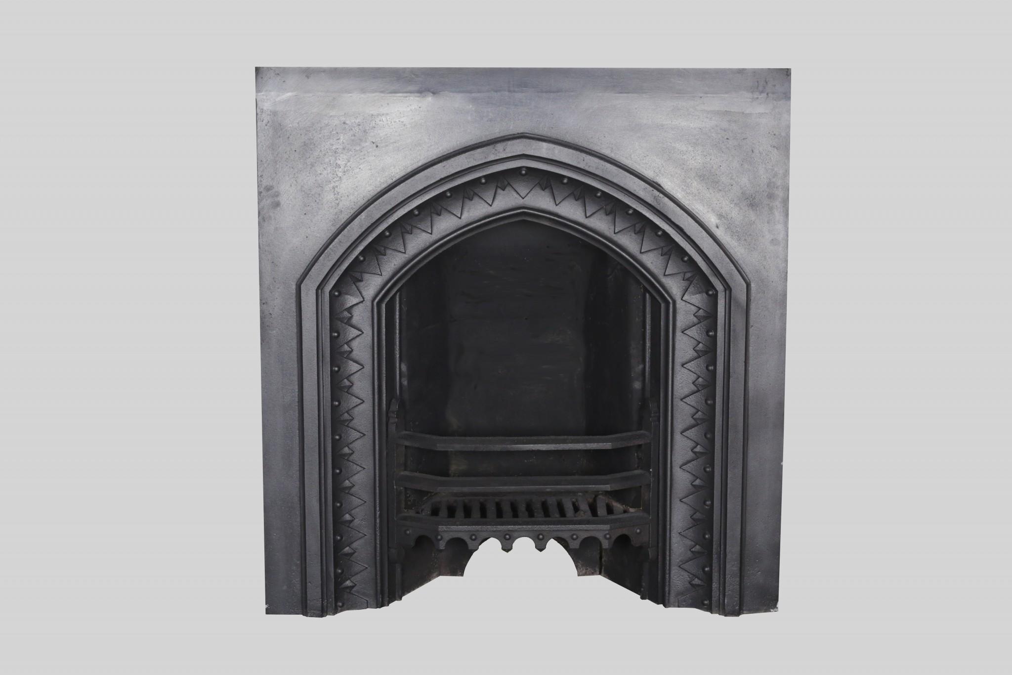 Gothic Revival Cast Iron Insert Fireplace Restoration