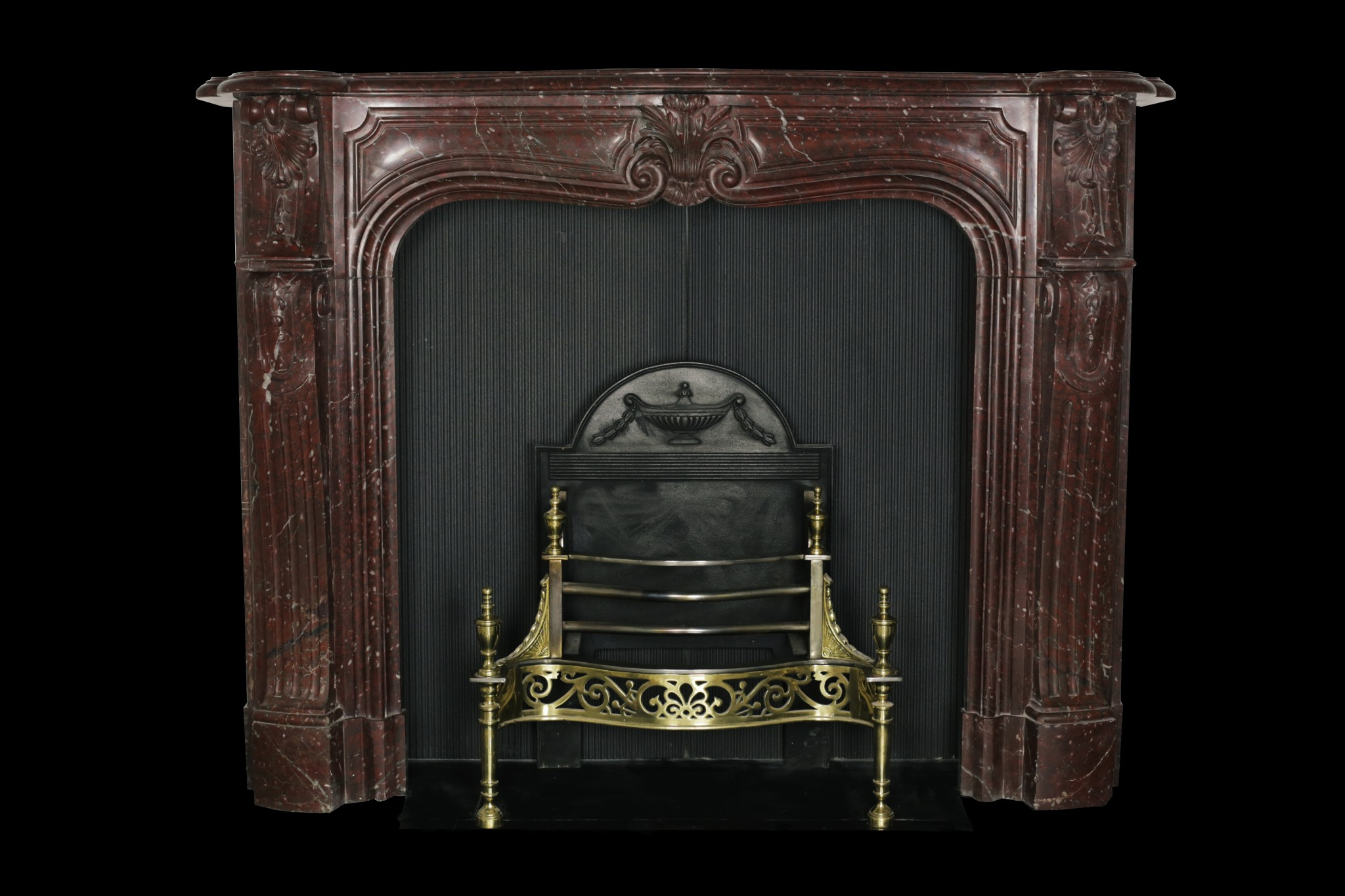 Griotte marble louis xv style fireplace restoration for Chambre style louis xv