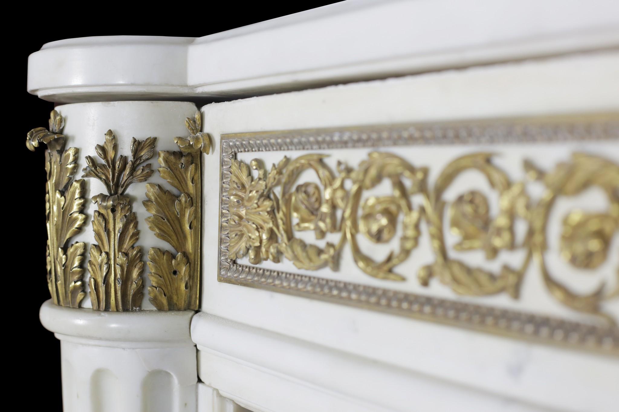 Statuary Marble And Ormolu Louis Xvi Fireplace Restoration